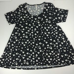 Lularoe Perfect T black with white hearts